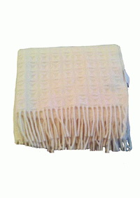 ผ้าห่ม Twist natural white woven wool